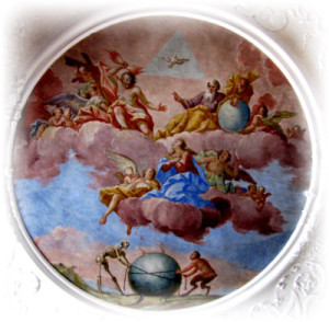 Ausschnitt aus dem Deckenfresko von St. Mang, Füssen